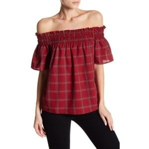 Socialite Red Buffalo Plaid Off The Shoulder Top